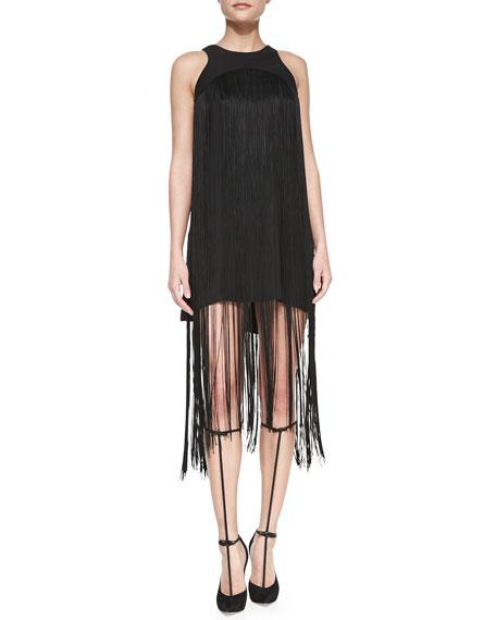 Vardenis Sleeveless Fringe-Overlay Dress