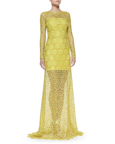 Alexis Vicenza Long-Sleeve Lace Gown