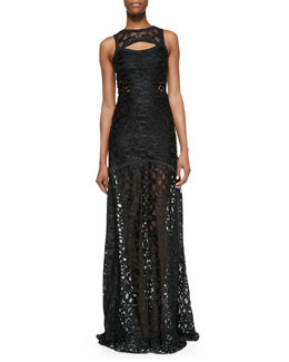 Alexis Natuna Sleeveless Cutout Lace Gown