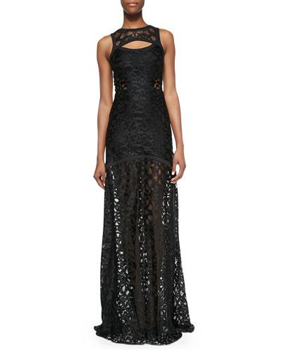 Alexis Natuna Sleeveless Cutout Lace Gown