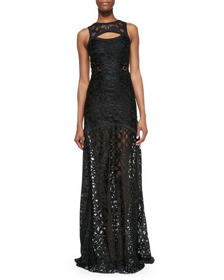 Natuna Sleeveless Cutout Lace Gown