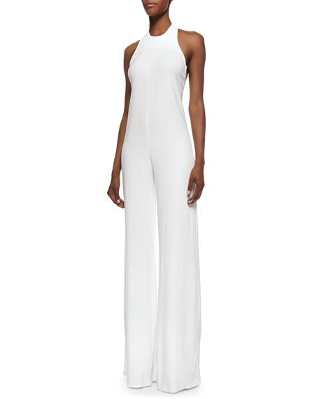 Alexis Dia Open-Back Crepe Jumpsuit, Off White