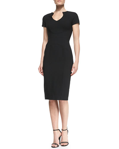 Black Halo Gypsy Fitted Crepe Sheath Dress
