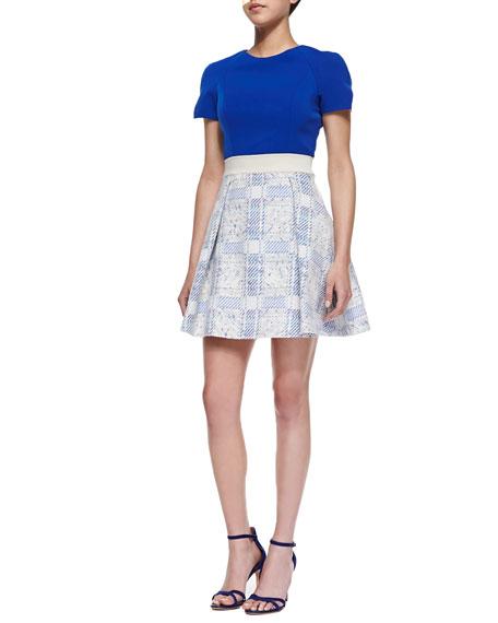 Darlington Gabardine/Jacquard Combo Dress
