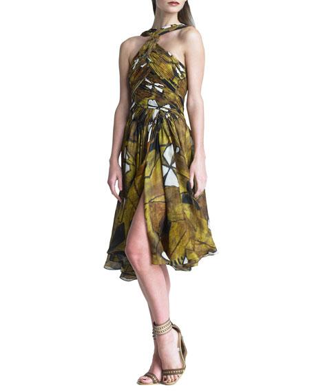 Printed Draped Bodice Dress