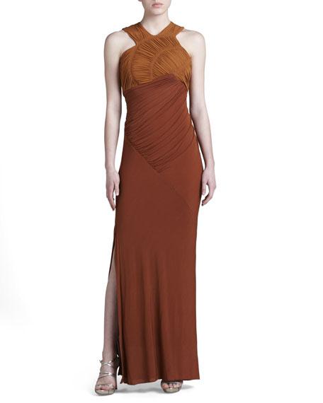 Slash Ruched Jersey Evening Dress