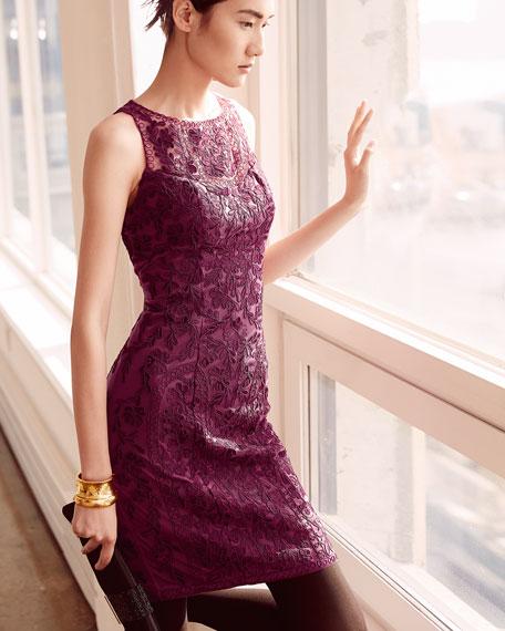 Sue Wong Sleeveless Lace-Overlay Cocktail Dress, Plum