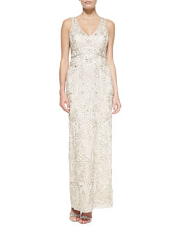 Sue Wong Embroidered V-Neck Gown, Antique Champagne