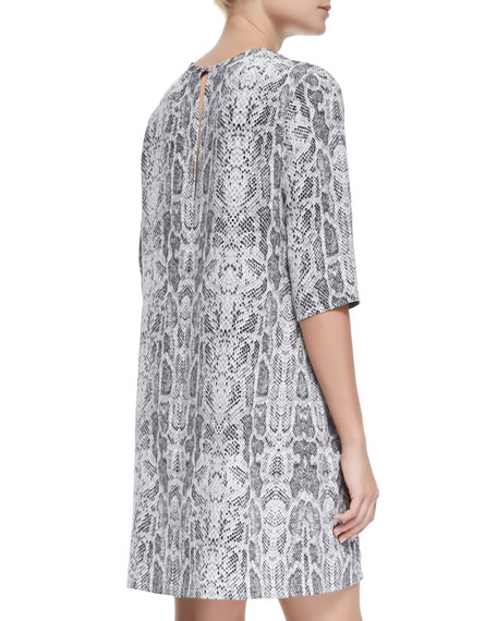 Aubrey Loose-Fitting Snake-Print Silk Dress