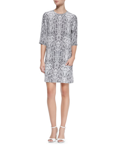 Equipment Aubrey Loose-Fitting Snake-Print Silk Dress