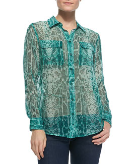 Equipment Slim Signature Snakeskin-Print Blouse