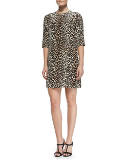 Equipment Aubrey Silk Animal-Print Dress