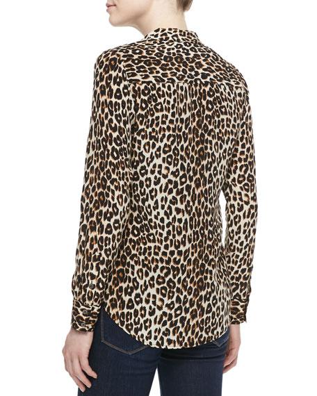 Adalyn Silk Long-Sleeve Blouse, Natural
