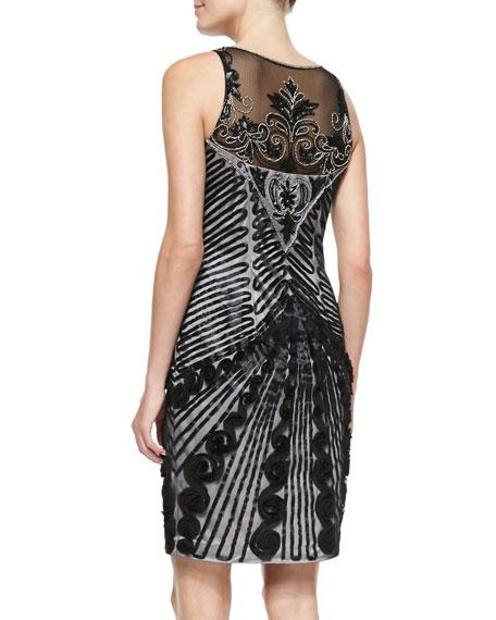 Sleeveless Illusion-Neck Cocktail Dress