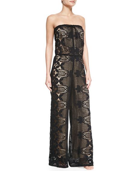 Miguelina Piper Strapless Lace Jumpsuit Coverup, Black