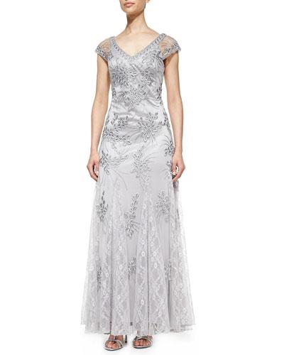 Sue Wong Cap-Sleeve Lace Appliqué Gown