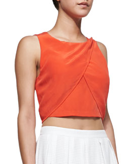 Rebecca Minkoff Malone Draped Silk Crop Top