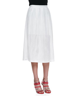 Rebecca Minkoff Piper Open-Weave Mesh Skirt, Bone