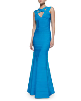 Herve Leger Cross-Neck Sleeveless Bandage Gown