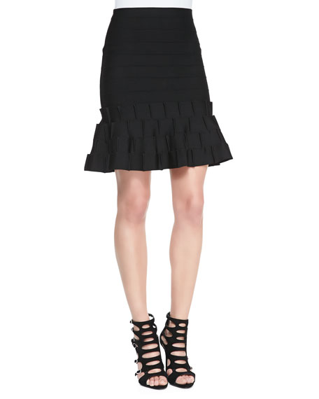 Above-Knee Bandage Knit Fit-and-Flare Skirt
