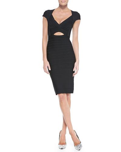 Herve Leger Deep V-Neck Bandage Dress, Black