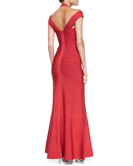 Double-Strap Deep V-Neck Bandage Gown