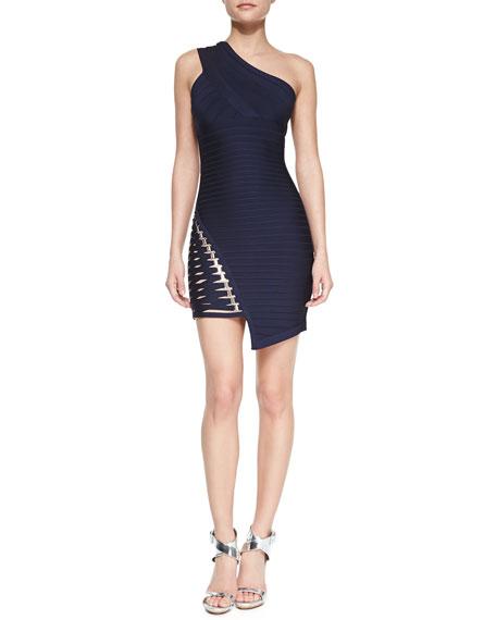 One-Shoulder Asymmetric Bandage Dress