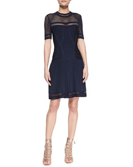 Herve Leger Netted-Top Pleated-Skirt Bandage Dress
