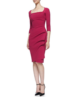 La Petite Robe di Chiara Boni Amy 3/4-Sleeve Sheath Dress, Garnet