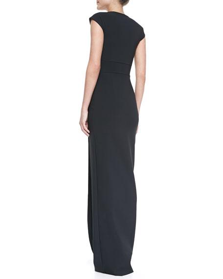 Ablliz Cap-Sleeve Square-Neck Column Gown
