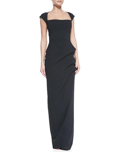 La Petite Robe di Chiara Boni Ablliz Cap-Sleeve Square-Neck Column Gown