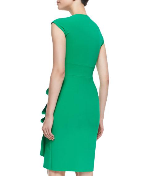 Liz Cap-Sleeve Ruched Dress