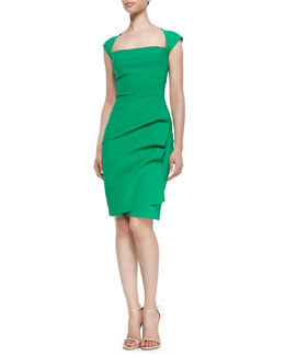 La Petite Robe di Chiara Boni Liz Cap-Sleeve Ruched Dress