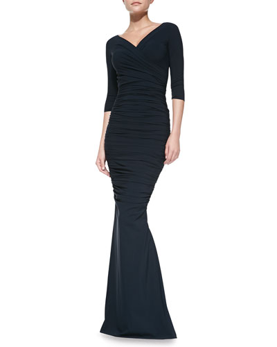 La Petite Robe di Chiara Boni Marielena 3/4-Sleeve Long Dress, Navy