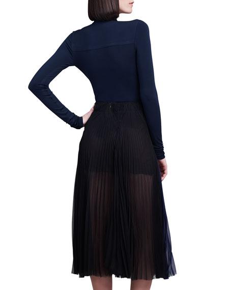 Pleated Silk Chiffon Sunray Skirt