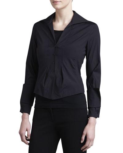 Donna Karan Taffeta Jersey-Back Blouse, Black