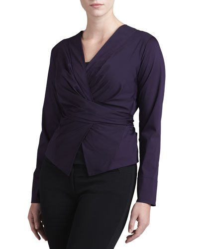 Donna Karan Wrap & Tie Shirt Jacket, Wild Iris