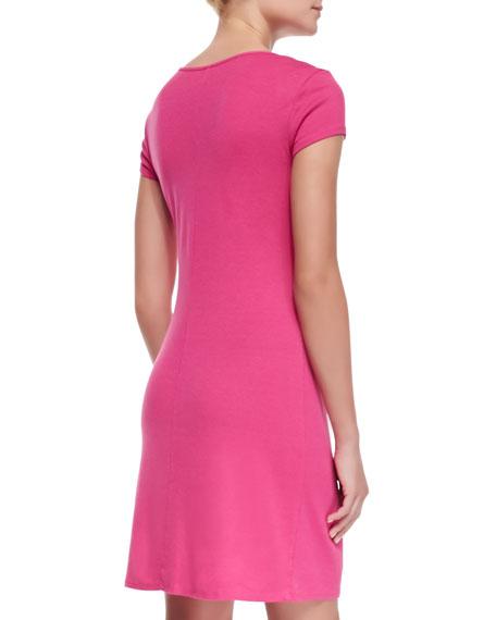 Short-Sleeve Cowl-Neck Dress