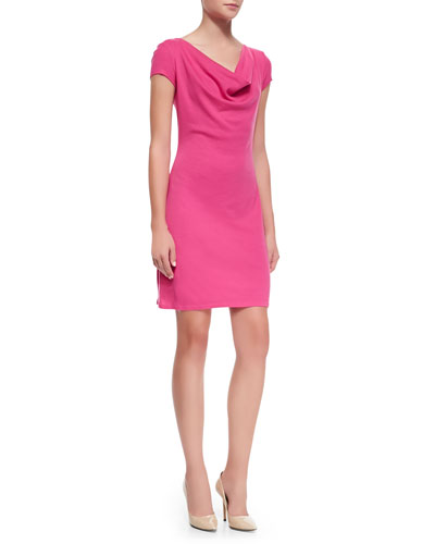 Three Dots Short-Sleeve Cowl-Neck Dress