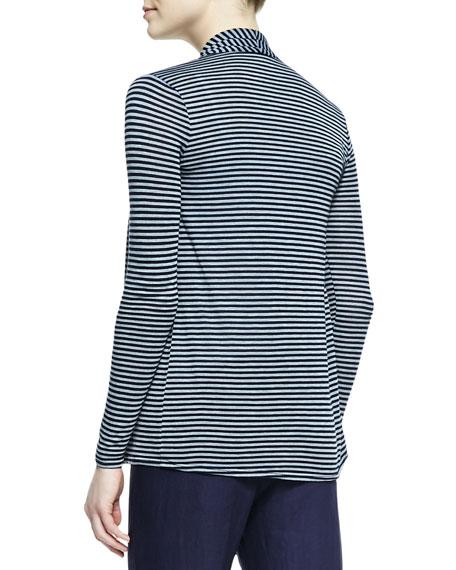 Long-Sleeve Striped Ruffle-Front Cardigan