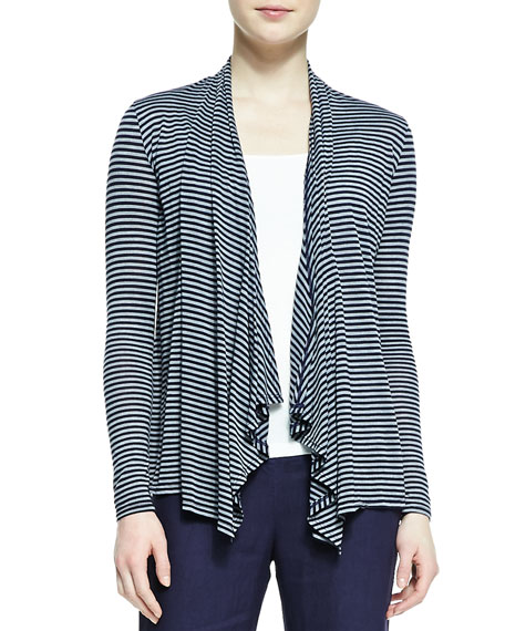 Long-Sleeve Striped Ruffle-Front Cardigan