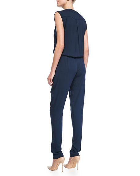 Sleeveless Blouson-Top Jersey Jumpsuit