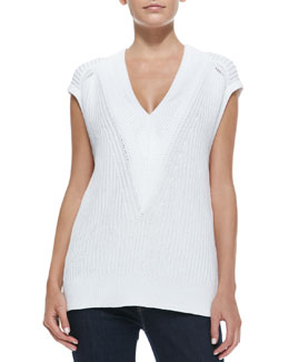 Rag & Bone Talia Knit Sleeveless Pullover, White