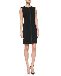 T Tahari Kasen Sleeveless Zip-Front Sheath Dress
