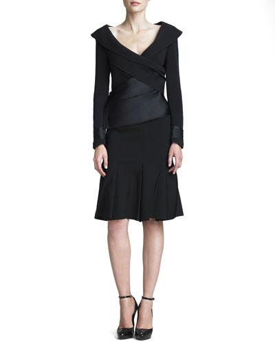 Donna Karan Stretch Crepe Flounce Skirt
