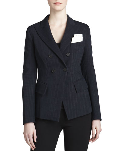 Donna Karan Fitted Cutaway Double-Breasted Jacket
