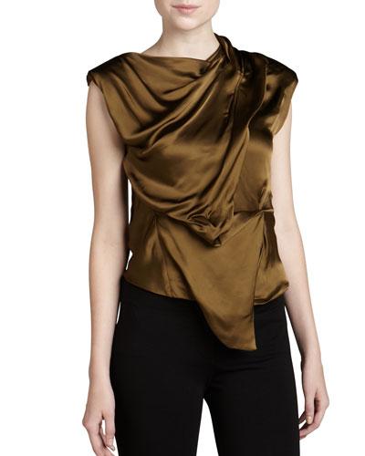 Donna Karan Sleeveless Draped Top, Brass