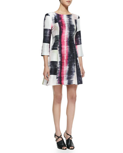 Ali Ro Long-Sleeve Windowpane-Print Dress
