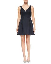 Ali Ro Sleeveless Deep V-Neck Scuba Dress