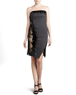 Donna Karan Strapless Sequined Dress